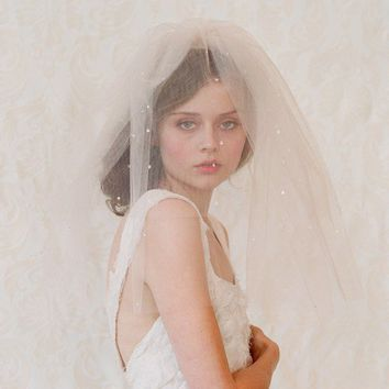 Bridal blusher wedding veil - Double layer teardrop veil in champagne, ivory or white - Style 111 - Ready to Ship