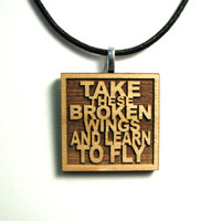 The Beatles Lyric Necklace JukeBlox Pendant - Take These Broken Wings And Learn To Fly