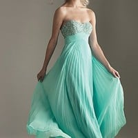 A-line Floor Length Strapless Aqua Promdress102059 Beads