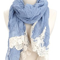 Crochet Trim Lightweight Scarf: Charlotte Russe