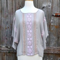 Language Vintage Boxy Lace Blouse
