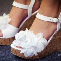 DBDK White Floral Peep Toe Cork Wedges - Shoes 4 U Las Vegas