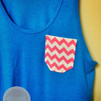 Neon Blue and Pink Chevron Pocket Tank
