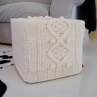 KNITTING PATTERN for chunky aran cable ottoman by BiscuitScout