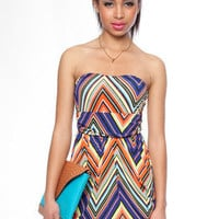 Zig Zag Multi Color Stapless Dress in Red :: tobi