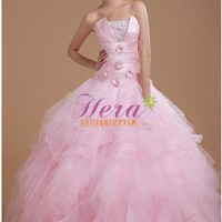 Eye-catching Ball Gown Strapless Pink Tulle Wedding Dress With Hand-made Flowers
