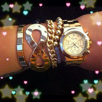 ARM CANDY SWAG - 5PC. STACKABLE FASHION BRACELETS W/ WATCH - BOUTIQUE QUALITY