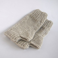 custom knit fingerless mittens-- the condyle wristwarmers in linen