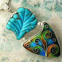 Cloisonne Enamel Pendant in Silver with by indigoflameworks