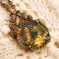 Shimmering Topaz Sunflower Czech Button Necklace by LoreleiDesigns