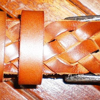 Unisex tan leather handmade woven belt by G2P