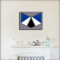Original abstract painting on canvas. Geometric with royal blue, gray, black, and white.