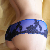Women Sleepwear & Intimates Lace  Panties the Nude Beauty in Indigo Blue Thong-Shorts Made to Order