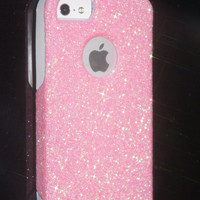 Custom Glitter Case Otterbox for iPhone 5 Blush Pink/White