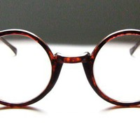 Vintage 80's Round Tortoise Eyeglass Frames by BackThennishVintage