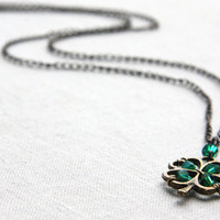 Four Leaf Clover Pendant, Irish Shamrock for Good Luck, Green Crystal Necklace, Celebrate St. Patrick&#x27;s Day