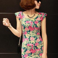 Flower Slim Dress S010467