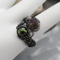 Gunmetal Wire Wrapped Glass and Metal Bead Adjustable Ring