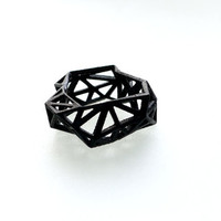 geometric ring - Triangulated Ring in Black. 3d printed. triangle jewelry. modern statement jewelry