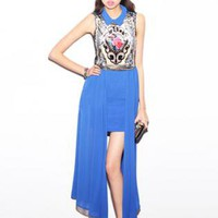 Blue Retro Print Chiffon Dress S010515