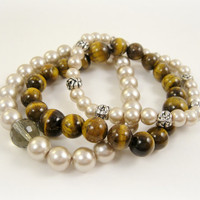 Beaded Stretch Bracelets in Brown and Cream by shopkim on Etsy