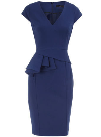 Navy V neck peplum dress - View All - Dresses - Dorothy Perkins