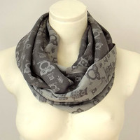 Owls of Spring Pearl Dark Grey  - Spring Fashion - Infinity Loop Circle Scarf
