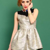 Diamond Standing Collar Puff Dress  S010520