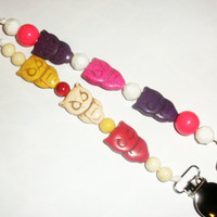 Owl beaded pacifier clip holder string set of 2 pink purple red white binky paci