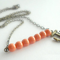 Nautical Anchor Necklace with Coral Beads on Antique Brass - Anchor Jewelry - Refuse to Sink