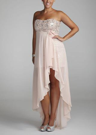 Strapless high low sequin prom dress from david 39 s bridal for High low wedding dress davids bridal