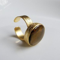 Agate stone Gold plated Ring | moonfairy - Jewelry on ArtFire