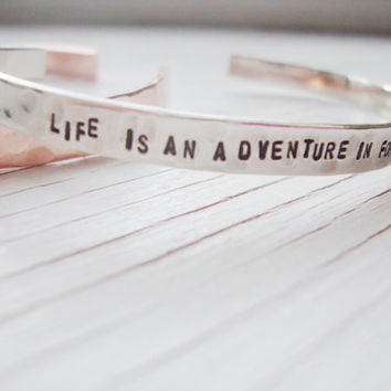 Life is an adventure in forgiveness hammered silver  hand stamped cuff
