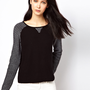 BA&amp;SH Knitted Jumper with Contrast Sleeve