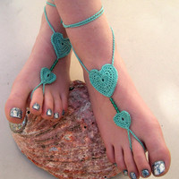 Mint Green Barefoot sandals - Crocheted Heart Anklet - Foot Jewelry - Beach Wedding - Soleless - Bridesmaid accessory