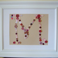 Button Monogram Letter M Mauves & Pinks