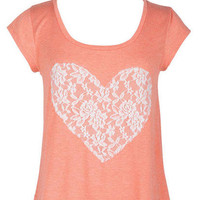 Lace Heart Short-Sleeve