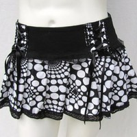 TRIPP NYC BLACK WHITE DOT LACE UP STRETCH COTTON MINI SKIRT sz XS GOTH EMO PUNK