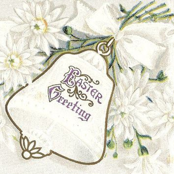 Vintage Easter postcard, J Herman, Easter Greeting with White bell and flowers, embossed