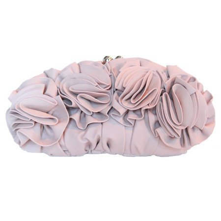 ruffly roses clutch in pink