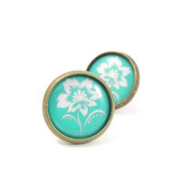 Mint and White Flower Print Earring Studs Bronze by MistyAurora