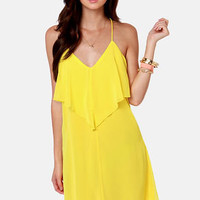 Costa Blanca Roxanne Racerback Bright Yellow Dress