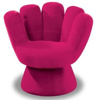 LumiSource Plush Mitt Chair, Hot Pink: Home &amp; Kitchen