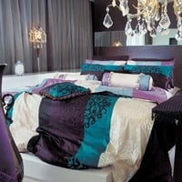 820 TC Black Damask Turquoise & Burgundy Duvet Set - Queen: Home & Kitchen