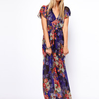 ASOS Maxi Dress In Vintage Floral Print With 70&#x27;s Sleeve