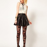 Hearts & Bows Leather Look Skater Skirt at asos.com
