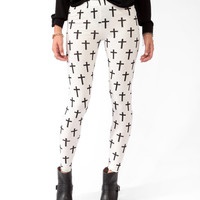 Ditsy Cross Print Leggings | FOREVER21 - 2030187569