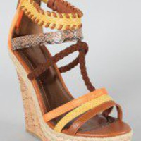 Bamboo Eliza-08 Animal Print Gladiator Wedge