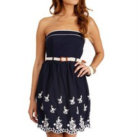 Navy/Ivory Strapless Sundress