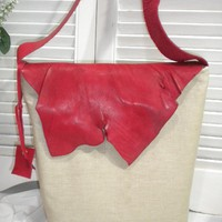 Hemp Linen with Red Leather flap Messenger by maycascollection